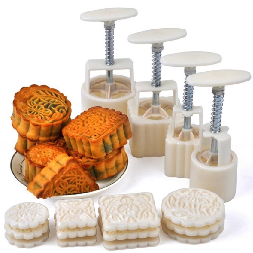 16Pcs/set Flower Mooncake Mold DIY Hand Pressure Fondant Moon Cake Biscuits Moulds Mid-autumn Festival Baking Tools