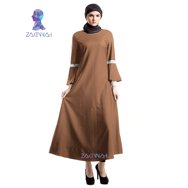 879b178ede7ddc Zakiyyah Nieuwe Elegante Effen Moslim Jurk Islamitische Abaya Dubai Turkse  Kleding Vrouwen Moslim Jurken Volwassen