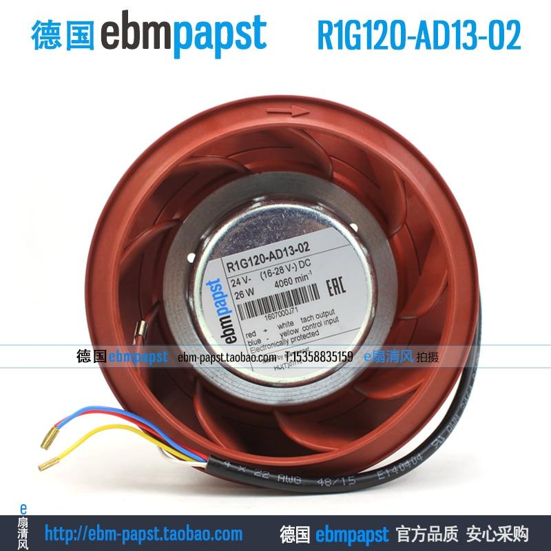 Original new ebm papst R1G120-AD13-02 DC 24V 1.2A 26W 4-wire 120x120mm Centrifugal fan fan new original ebm papst iq3608 01040a02 iq3608 01040 a02 ac 220v 240v 0 07a 7w 4w 172x172mm motor fan