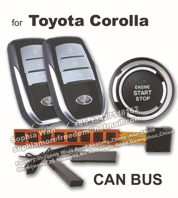 For Toyota Corolla Can Bus Car Alarm Diy Push Start On Smart Key Pke Keyless Entry Remote Starter Engine Window Closer