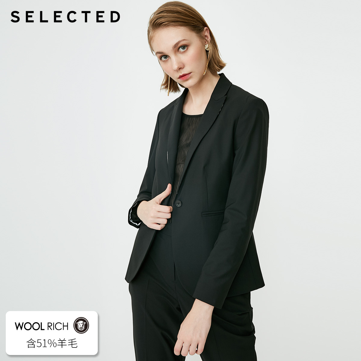 SELECTED Women's Wool blend Slight Stretch Business casual Suit Jacket S418372503-in Blazers from Women's Clothing    1