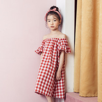 New Korean Style Girls Summer Dress Red Cotton Shoulderless Short Sleeve Lace Plaid Princess Dress Big Girls 13 14 Party Dresses