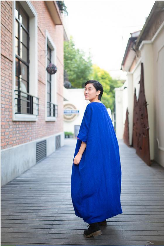 Литературный большой ультра-Свободные длинное платье плюс Размеры Ретро Для женщин Платья для женщин Халаты Демисезонный Летний стиль женское платье