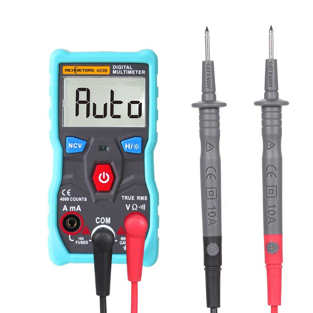 Automático multímetro Digital RM403B Auto de la gama de retroiluminación de verdadero valor eficaz (RMS NCV 4000 cuenta AC/DC de corriente de voltaje Ohm prueba herramienta inteligente