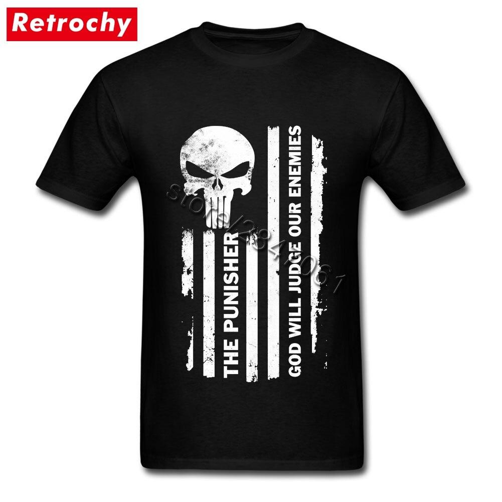 2017 Brand Designer T Shirts Black The Punisher Men Slim Fitting Tee Short Sleeved Custom T-Shirt Family Oversized Merchandise