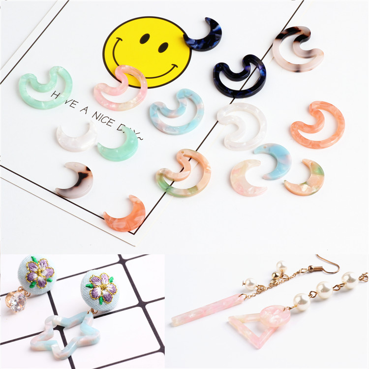 Cute Jewelry Earring Decor Charms 30PCs/Lot Kawaii Animal Cat Moon Star Head Environmental Protection Acrylic Acetic Acid Charm