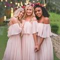 Sexy Vestidos de Dama de Largo 2017 de la Gasa Fuera Del Hombro Del Cuello Del Barco Robe Demoiselle d'honneur Wedding Party Bruidsmeisjes Jurk