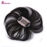 Bybrana Women Remy Hair 2 Clip In Middle Part Top Closure 100 Natural Color 8 Inch