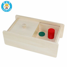 Montessori Baby Educational Teaching Aids Infant Toddler Wooden Box With Sliding Lid Size 30*16.5*10 cm