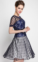 Luxury Women Lace Patchwork A-Line Dress Short Sleeve Sexy Mini Dresses 0316003B1