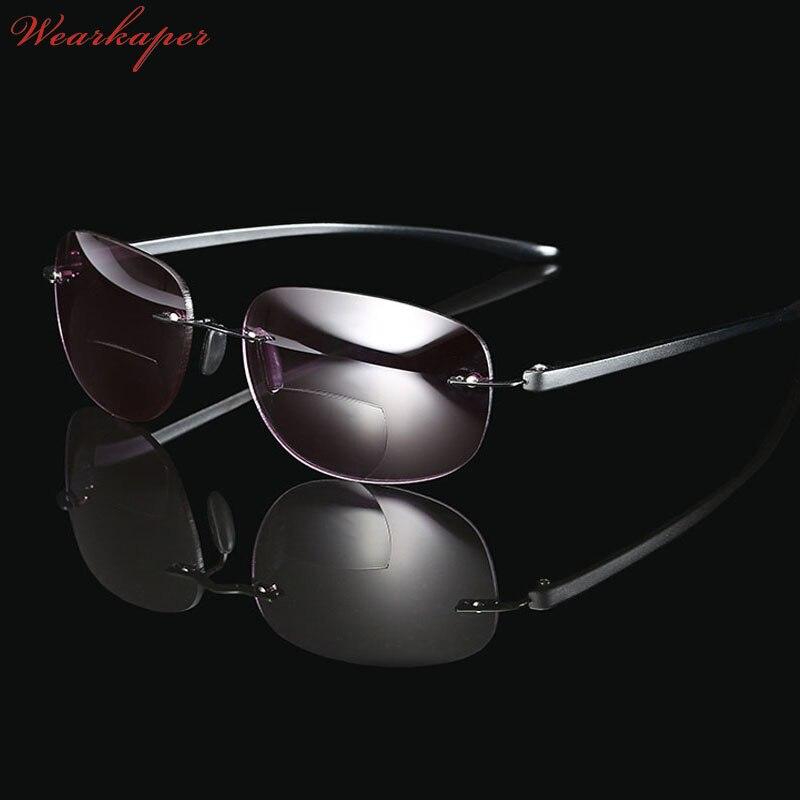 20812aefc7 Gafas de lectura bifocales de titanio sin marco para lectores de sol  multifunción para pesca al aire libre gafas para hombre