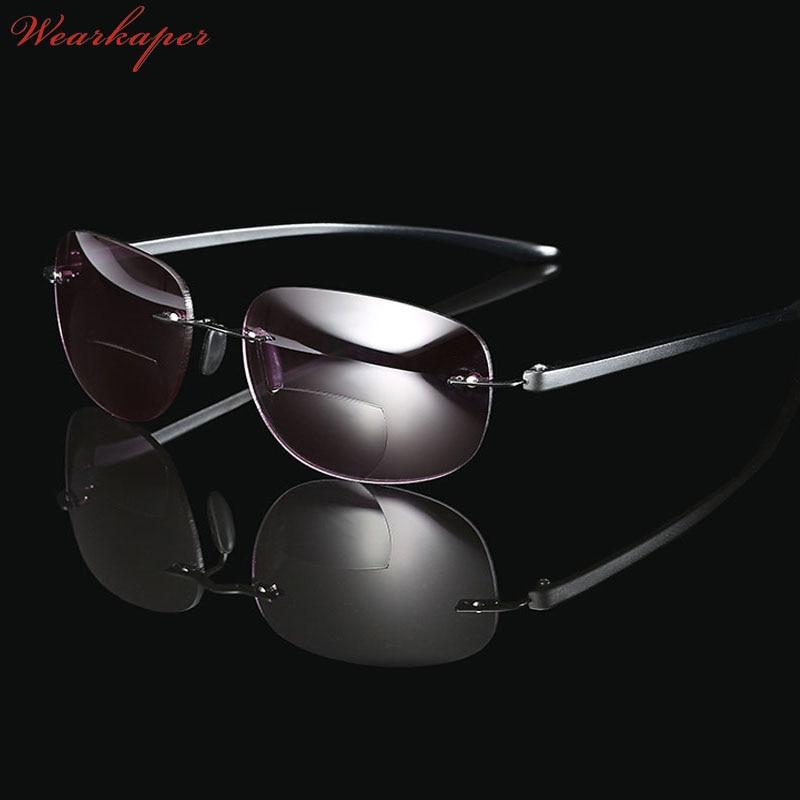 WEARKAPER Frameless Titanium Bifocal Reading Glasses Outdoor Fishing Multifunction Sun Readers Glasses Men Diopters Glasses