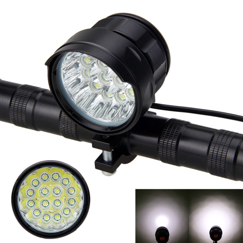 Bright Bicycle Light Torch 16x XM-L T6 LED Bike Lamp 3 Modes Front Bike Headlight for Outdoor Night Cycling Camping