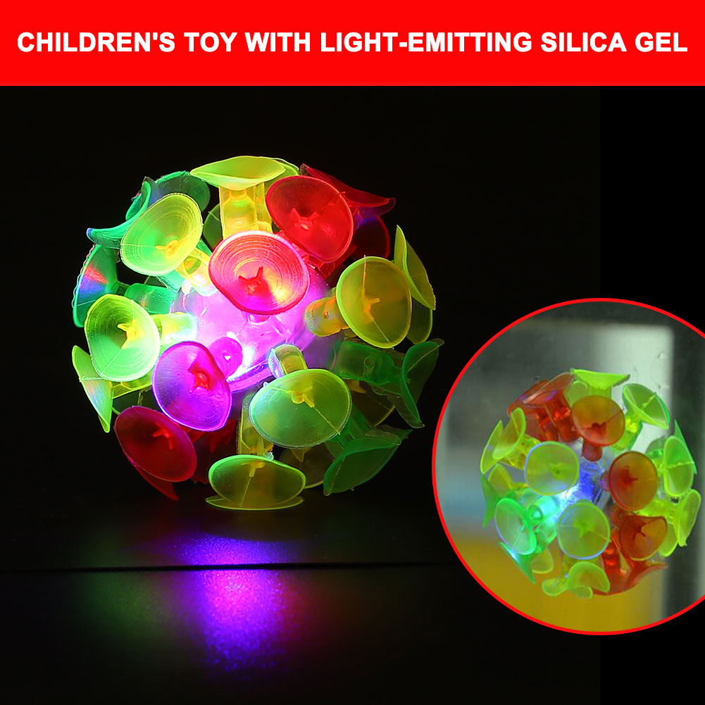 LED Sucker Ball Toy Rainbow Soft Flashing Funny Gadgets Ball Luminous Toys Perceive Ability Sticky Ball Parent-child Game Toys
