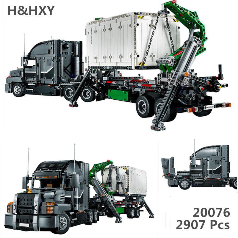 IN STOCK H&HXY 20076 new Technic Series The Mack Big Truck Set 42078 Lepin Building Blocks Bricks Educational Funny Toys Gifts in stock lepin 23015 485pcs science and technology education toys educational building blocks set classic pegasus toys gifts