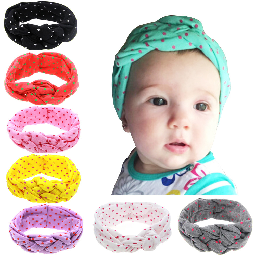 Baby Printing Knot Headbands Children Turban Knitted Knot Hair Bands Girls Ribbon Elasticity Hair Accessories Headwear Headdress fashion baby top knot headbands baby headwrap flower cross knot baby turban tie knot headwrap hair band accessories