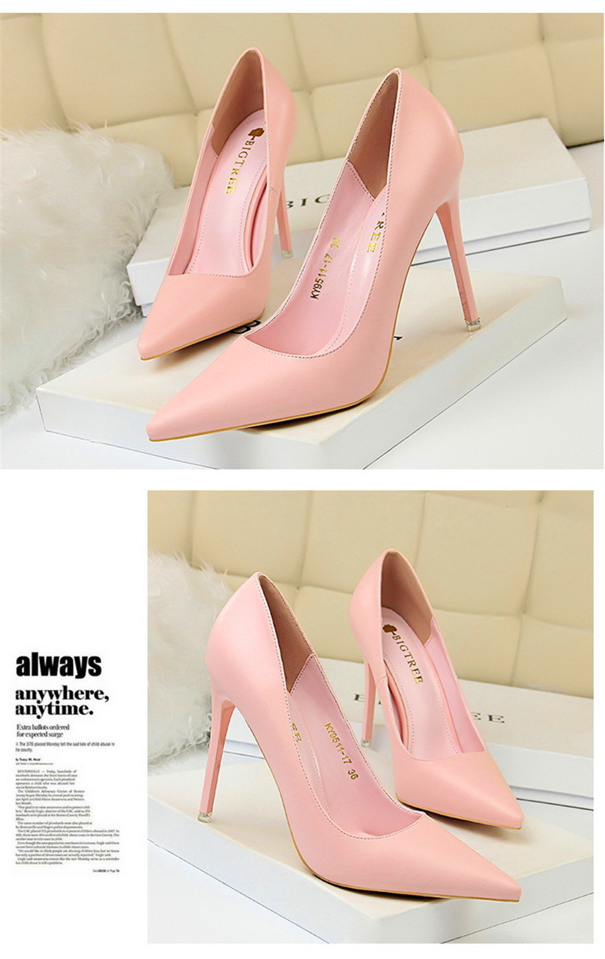 BIGTREE Soft Leather Shallow Fashion Women's High Heels Shoes Candy Colors Pointed Toe Women Pumps Show Thin Female Office Shoe 12