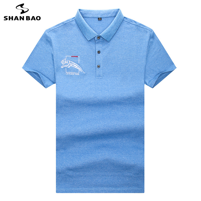 SHANBAO Brand Business Gentleman Casual Short Sleeve   Polo   Shirt 2019 Summer New High Quality Print Embroidered   Polo   Shirt