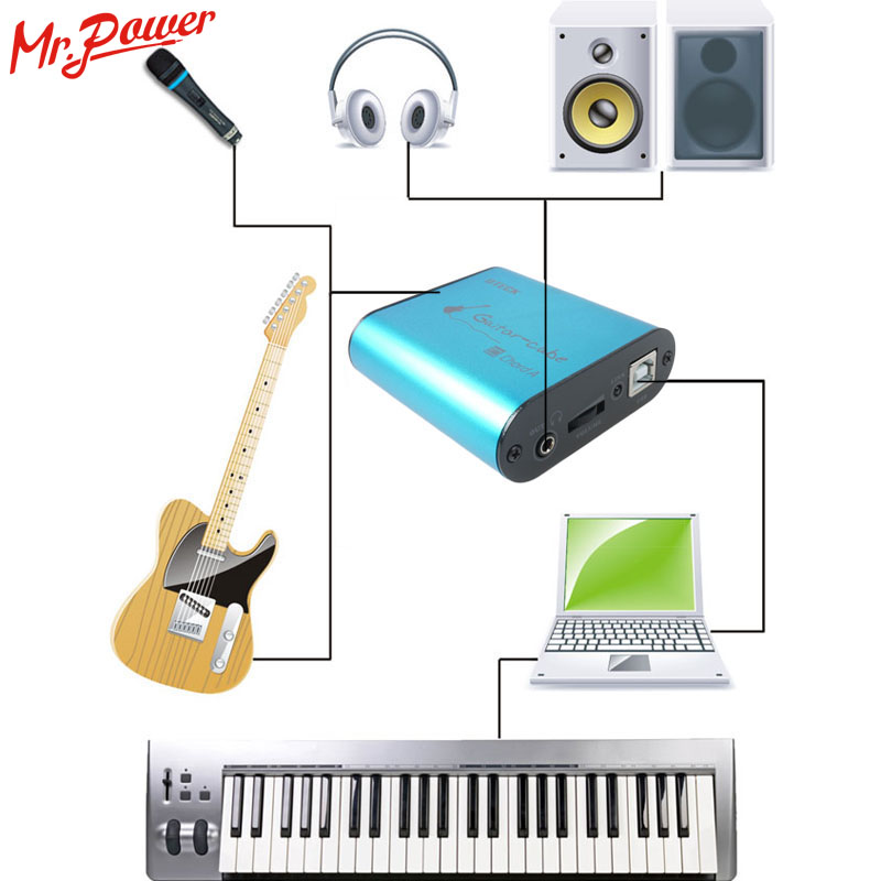 Uteck Guitare Cube ASIO Corde USB interface audio (DI) idéal pour Doux (Guitar Rig JAMVOX AmpITube) 240 B - 5