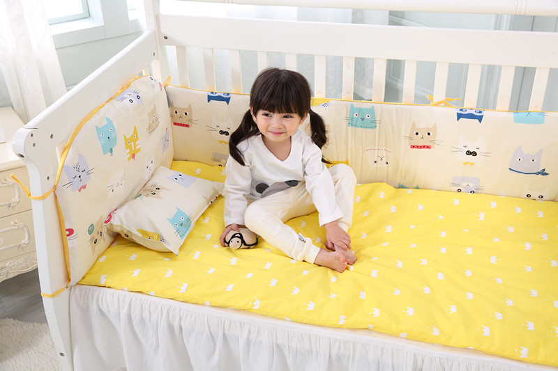 Promotion! 6PCS New Arrived Cartoon Crib Baby Bedding Sets Bed Linen Bed Set 100% Cotton ,include(bumpers+sheet+pillow Cover)