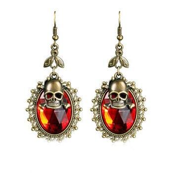 Elegant Crystal Skull Drop Dangle Earrings 1