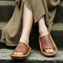 2016 new arrival summer genuine leather women sandals thick sole casual handmade women slippers medium heels women shoes T339-1