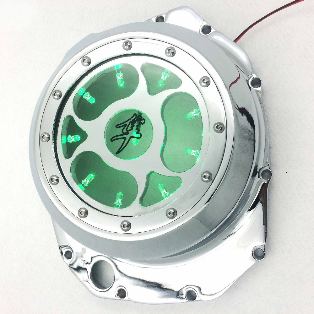 Motorcycle parts Blue LED See through Engine Clutch Cover For Suzuki GSX1300R Hayabusa B-king Chromium aftermarket free shipping motorcycle accessories green led see through engine clutch cover for suzuki gsx1300r hayabusa b king