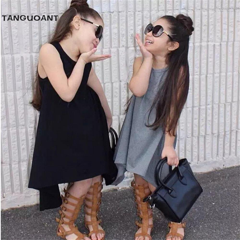 TANGUOANT Summer 2018 Newest Girl Dress Black And Gray Irregular Hem dress Sleeveless Solid Dress For Kids curved hem striped tee dress