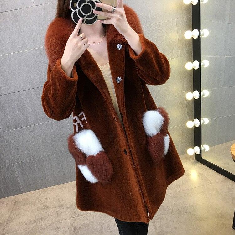 Новое поступление Для женщин тонкий полным ходом с капюшоном искусственной овечьей шерсти Мех животных пальто, толстые теплые Искусственн...