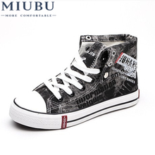 MIUBU New Fashion Men Canvas Shoes High Top Casual Denim Lace-up Male Flats Footwear