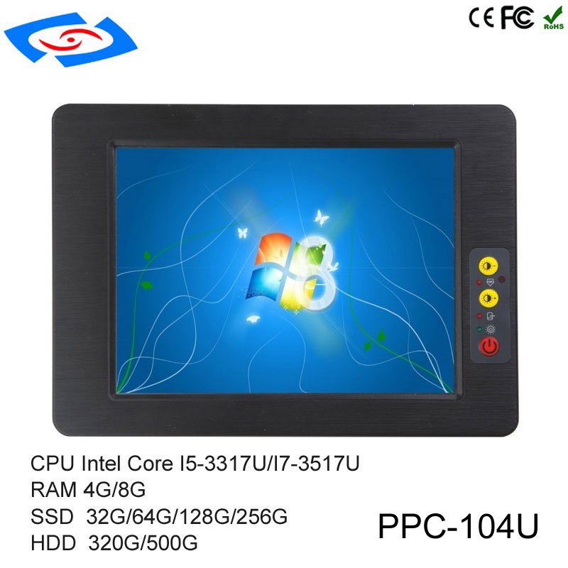 Low Cost 10.4 Inch Touch Screen Embedded Industrial Tablet PC With Intel Core I5-3317U Optional I7-3517U IP65 Fanless Design