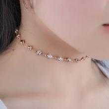 Trendy Simple Crystal Choker Necklace Fashion Single Rhinestones Neck Collar for Women Statement Necklace Jewelry