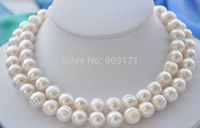 Free Shipping>>9 10MM NATURAL SOUTH SEA WHITE BAROQUE PEARL NECKLACE 32
