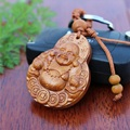 1 pc Hotsale rosewood carved Buddha Keychain pendant Lucky ornaments car keys charms pendants Wood classic Keychains