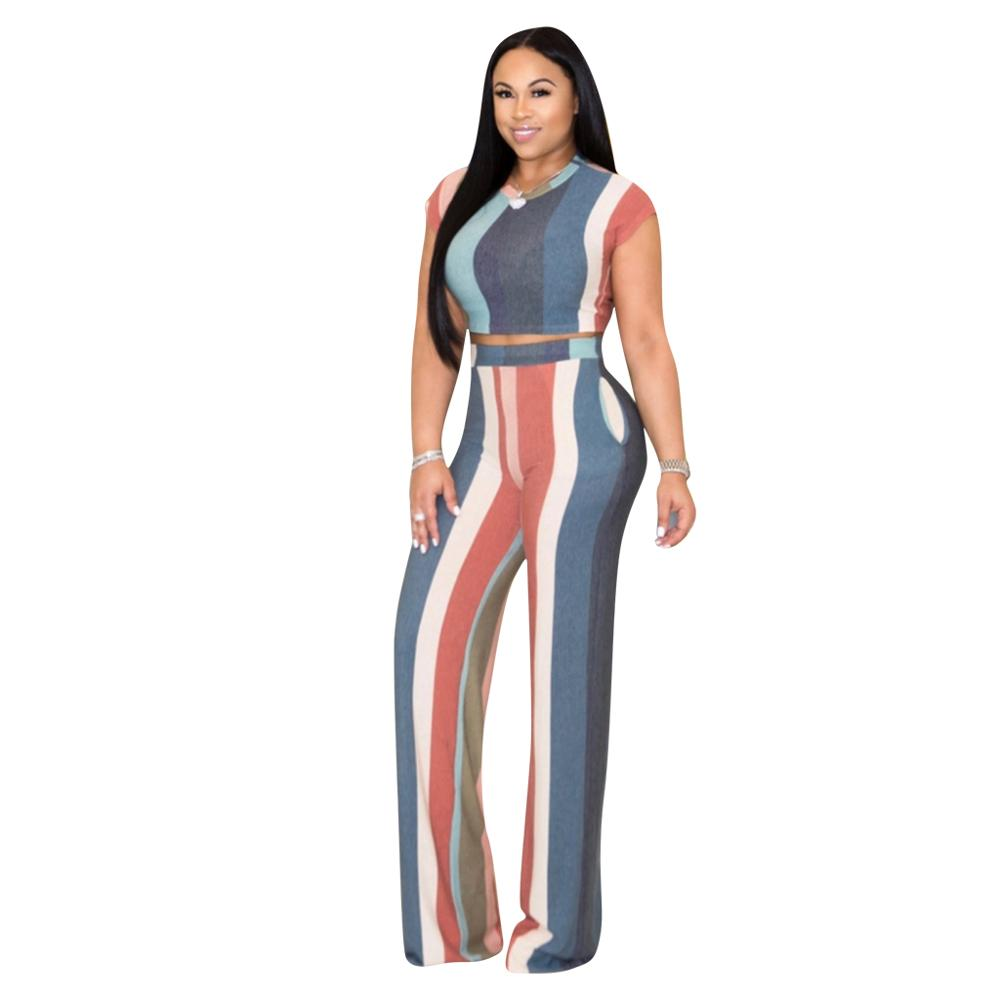 New Fashion Print Two Piece Set Women Plus Size Short Tops Wide leggings Long Pants Summer Sexy Outfit Night Club Clothes4colors in Women 39 s Sets from Women 39 s Clothing
