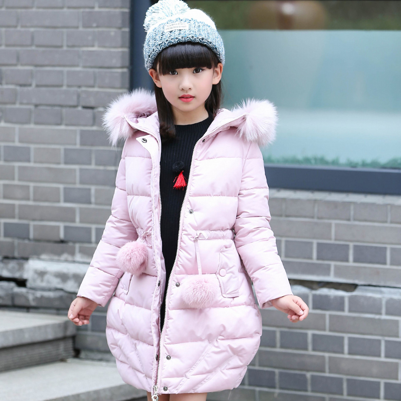 ФОТО 2016 New girls Winter down Jacket Limited 80% Thicken Kids Girl Jackets Long Coat Fashion Big Girl fur collar hooded outerwear