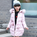 2016 New girls Winter down Jacket Limited 80% Thicken Kids Girl Jackets Long Coat Fashion Big Girl fur collar hooded outerwear