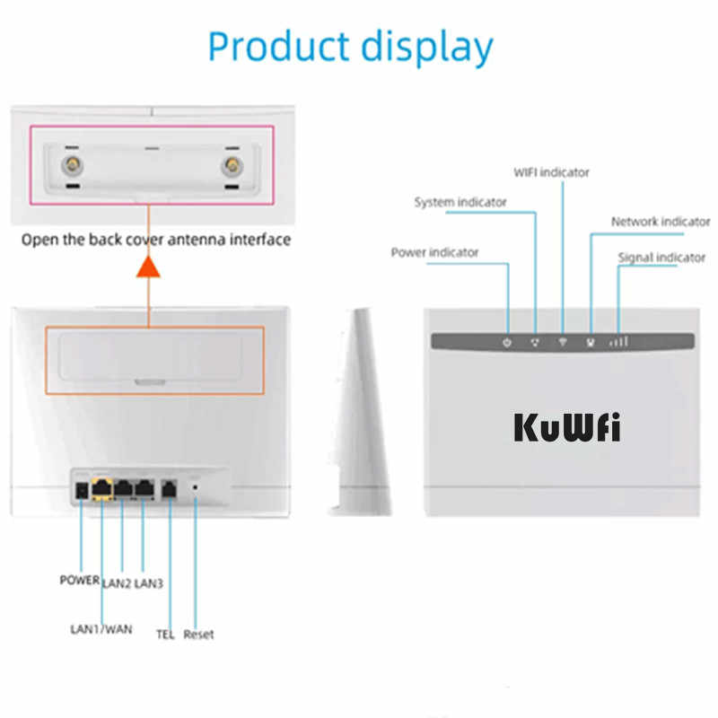 KuWfi 4G CPE Wifi נתב 3G/4G LTE CPE נתב 4G מודם עד 32 משתמשים 150Mbps Cat4 אלחוטי נתב עם RJ45Ports 2pcs אנטנות