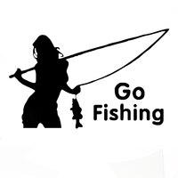 Wholesale 10pcs Lot 20pcs Lot Angler Go Fishing Car Boat Sticker Funny Joke Hot Cool Styling