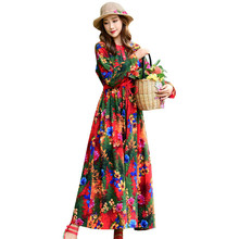 Cotton linen folk-custom women spring autumn new dress literary printing round neck long sleeve drawstr waist Female YH158
