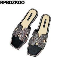 b62463e01 Bling Bling Gold Silver Designer Shoes Women Luxury 2017 Diamond Big Size Flat  Crystal 11 Slides Black Rhinestone Sandals Runway