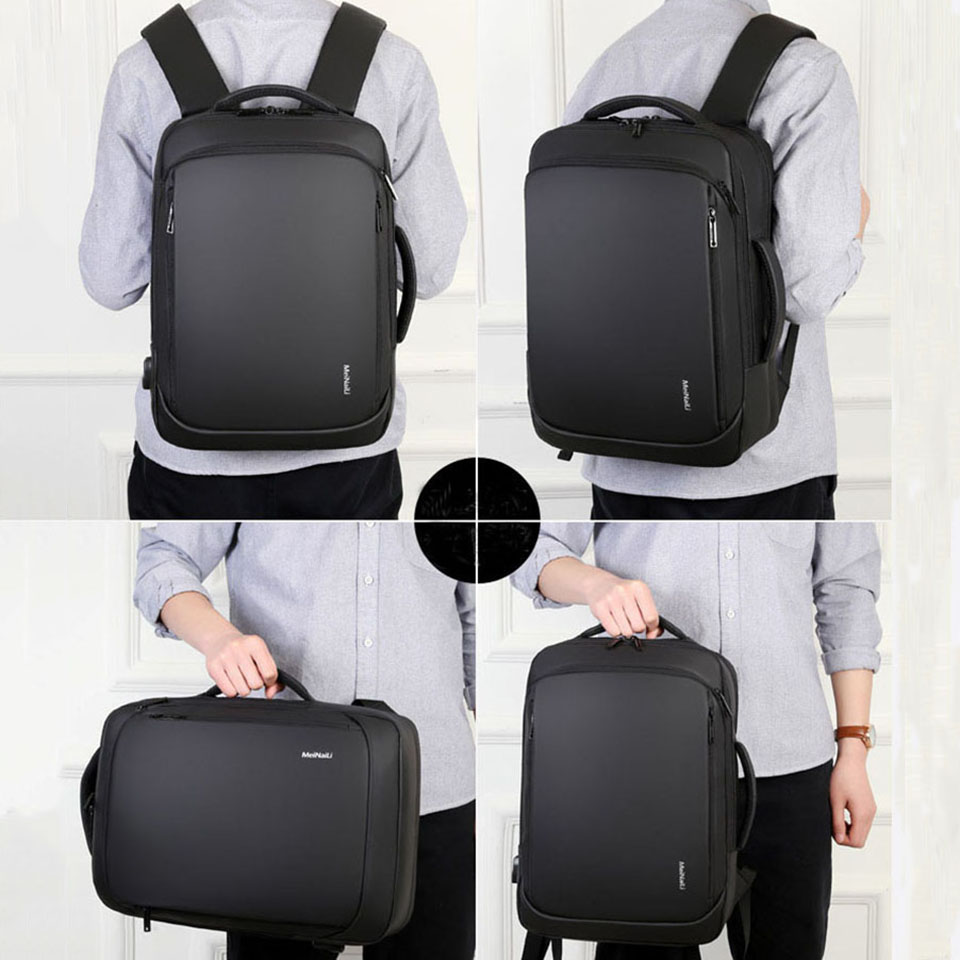 15 6 Inch Laptop Backpack Mens Male Backpacks Business Notebook Mochila Waterproof Back Pack USB Charging Bags Travel Bagpack in Backpacks from Luggage Bags