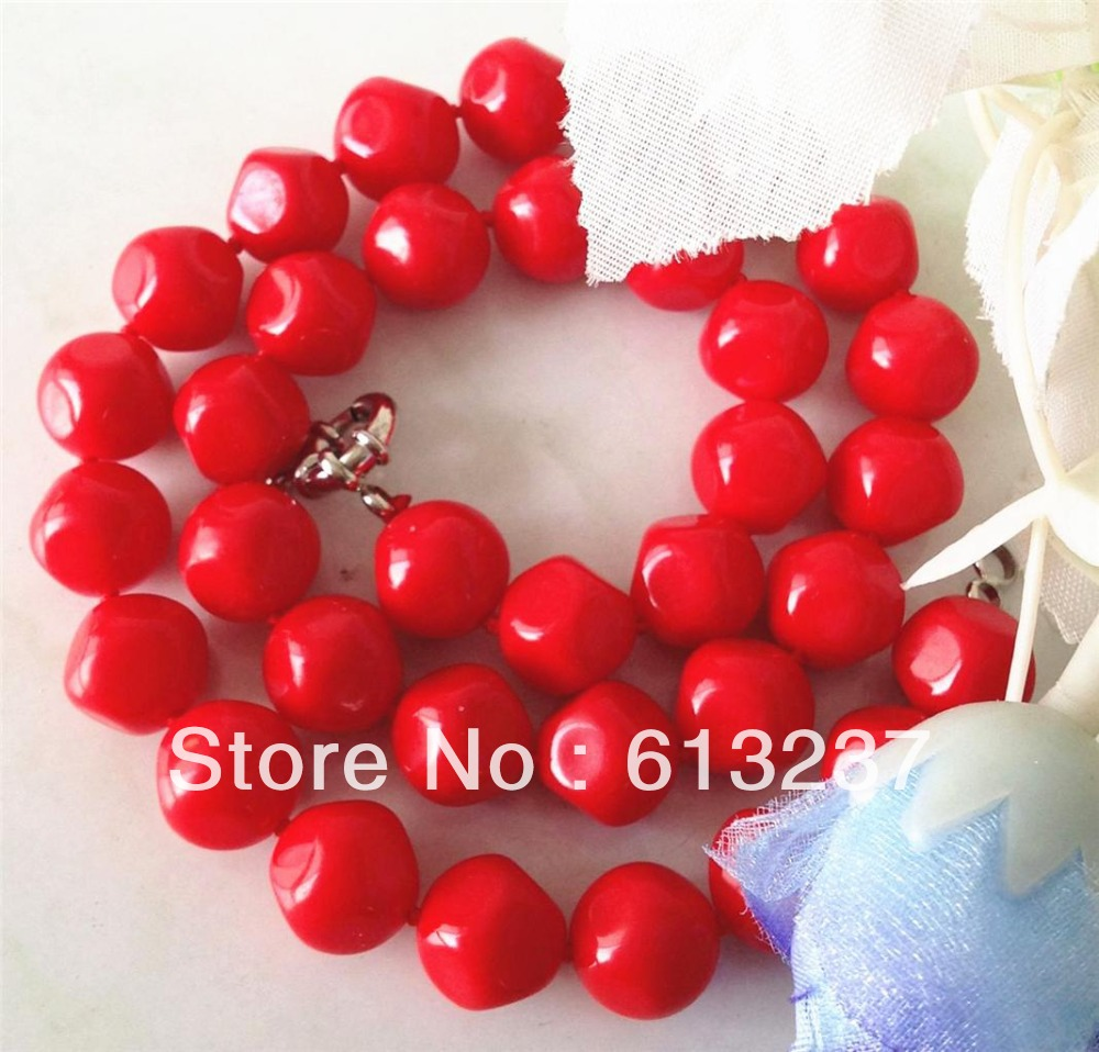 Free shipping new fashion 12mm faceted round red artificial coral necklace chains necklaces hot sale jewelry 18inch MY3370