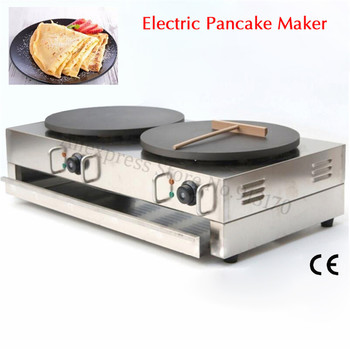 Double Pans Electric Commercial Crepe Maker Pancake Making Machine Grill Breakfast Cooking 220V/110V 40cm 15.7