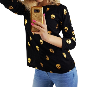 Gold Skull O-neck Printed Knit Casual Women Long Sleeve Top