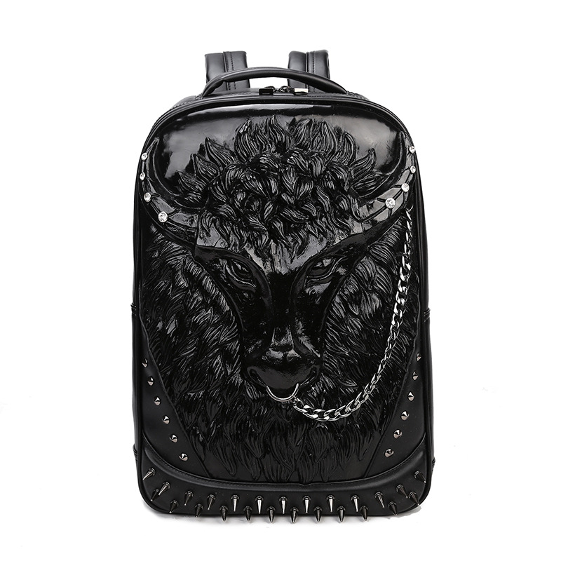 2018 Cool Fashion 3D Hero Tauren Minotaur Backpack Men Rivet Emboss Bull Head Leather Back Pack Laptop Rucksack Bags
