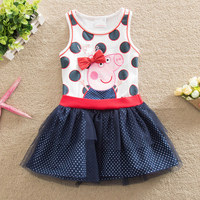 Baby Girl Summer Clothing 2016 Children Printed Fashion Cartoon Pig Princess Dress For Girls Children Cotton