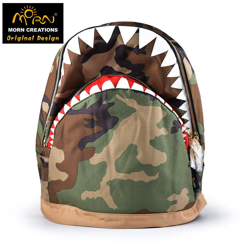 цена на Morn Creations Hong Kong Original Design Cordura Edition Shark Backpack (L) Soft Handle Camouflage Laptop Backpack Bags