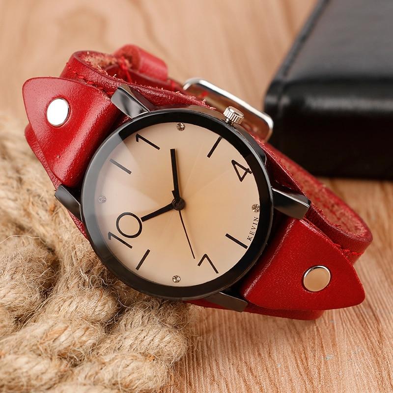 KEVIN Cool Steampunk Crystal Wristwatch Women Leather Strap