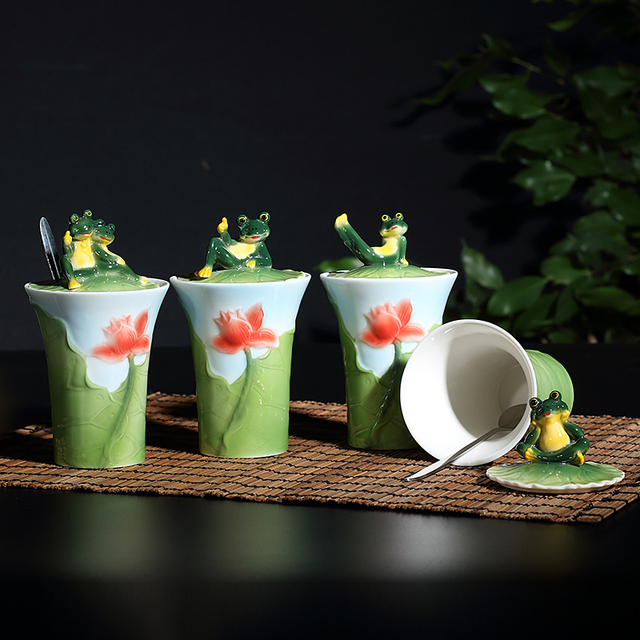 438e7bceb1a 1 PC Ceramic Cartoon Frog Coffee cup water cute tea milk mug with cover and  spoon